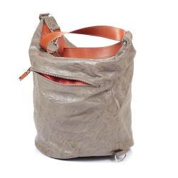 skóra,beż,worek,duża torba,na zamek,sack - Na ramię - Torebki