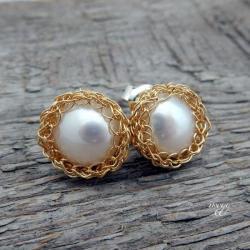 delikatne perły w srebrze złoconym - Kolczyki - Biżuteria