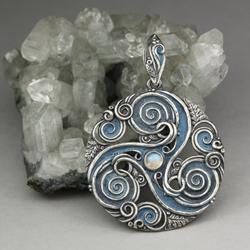 triskel,potrójna spirala,księżycowy,patyna,las - Wisiory - Biżuteria