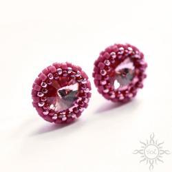 różowe,kryształy,pastelowe,okrągłe,wkrętki, - Kolczyki - Biżuteria