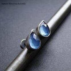 srebro,agat,sztyfty,surowe - Kolczyki - Biżuteria