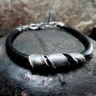 Dla mężczyzn Męska bransoleta,elementy ze srebra i skóra