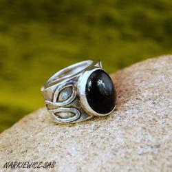 pierścionek z obsydianem tęczowym - Pierścionki - Biżuteria