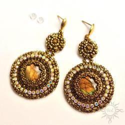okrągłe,błyszczące,labradoryt,ogień,złote,brązowe - Kolczyki - Biżuteria