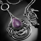 Naszyjniki srebrny,naszyjnik,wire-wrapping,jaspis,fioletowy