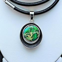 srebro z jaspisem,zielony jaspis cesarski,srerbro - Wisiory - Biżuteria