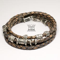 bransoleta męska,skórzana bransoleta - Dla mężczyzn - Biżuteria