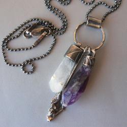kryształ górski,ametyst,surowy - Wisiory - Biżuteria
