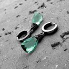 Kolczyki miętowe,zielone,z kwarcem,delikatne,nowoczesne