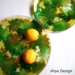 patery,na ciasto,talerze deserowe,zieleń wiosna - Ceramika i szkło - Wyposażenie wnętrz