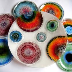 szkło,fusing,talerzyki deserowe - Ceramika i szkło - Wyposażenie wnętrz