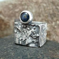 pierścionek,srebrny,z szafirem - Pierścionki - Biżuteria