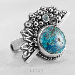 litori,handmade,pierścionek,chryzokola,topaz - Pierścionki - Biżuteria