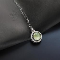wisior,dwustronny,z prehnitem,subtelny - Wisiory - Biżuteria