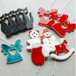 koty,aniołek,świąteczne,choinka,zwieszki - Ceramika i szkło - Wyposażenie wnętrz