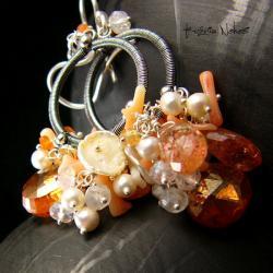 Nehesi,Kolczyki,ze Srebra,kandeblary,koral - Kolczyki - Biżuteria