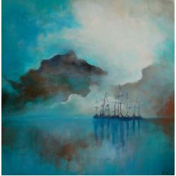 morze,turkus,brąz,abstrakcja,obraz,akryl - Obrazy - Wyposażenie wnętrz