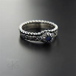 pierścionek,srebrny,z labradorytem,romantyczny - Pierścionki - Biżuteria