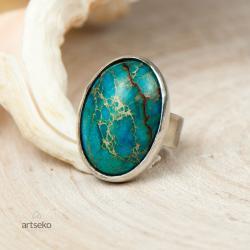 pierścionek srebrny,niebieski jaspis,prezent,artse - Pierścionki - Biżuteria