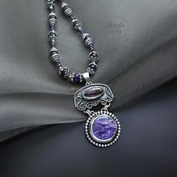 naszyjnik,z opalem,z czaroitem,orientalny - Naszyjniki - Biżuteria