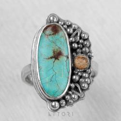 litori,handmade,pierścionek,turkus,jaspis,sen - Pierścionki - Biżuteria