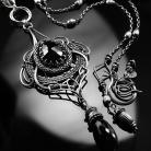 Naszyjniki srebrny,naszyjnik,wie-wrapping,czarny,spinel,ciba