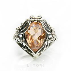pierścionek z kwarcem,srebrny pierścionek,morela - Pierścionki - Biżuteria