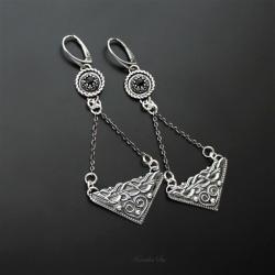srebrne,kolczyki,długie,z onyksem - Kolczyki - Biżuteria