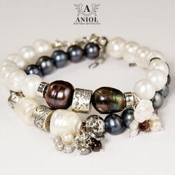 biżuteria z pereł,bransoleta damska,komplet - Bransoletki - Biżuteria
