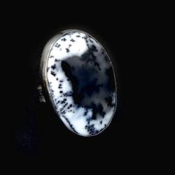 agat,biel,czarny,dendrytowy,okazały,srebro - Pierścionki - Biżuteria