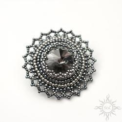 swarovski,szara,efektowna,z kryształem,ażurowa - Broszki - Biżuteria
