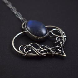 naszyjnik,labradoryt,niebieski,wire-wrapping, - Naszyjniki - Biżuteria