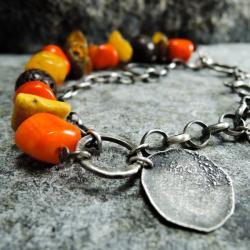 bransoleta srebrna,bransoleta z koralowca - Bransoletki - Biżuteria