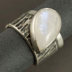 srebrny pierścionek z kamienim księżycowym - Pierścionki - Biżuteria