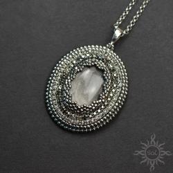 medalion,srebrny,obsydian,błyszczący,efektowny - Wisiory - Biżuteria