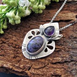 czaroit,ametyst,srebro - Naszyjniki - Biżuteria
