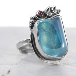 litori,handmade,pierścionek,kwarc aqua,granat - Pierścionki - Biżuteria