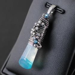 wire-wrapping,swarovski,agat,niebieski,srebro - Wisiory - Biżuteria