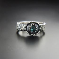 pierścionek,srebrny,z turmalinem,delikatny - Pierścionki - Biżuteria