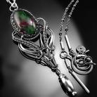 Naszyjniki srebrny,naszyjnik,zoisyt,rubin,wire-wrapping,ciba