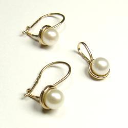perły,złoto,wisiorek,kolczyki,komplet - Komplety - Biżuteria
