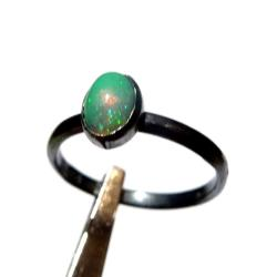 opal,blask,srebrny,srebro,zielony,tęczowy,okaz - Pierścionki - Biżuteria