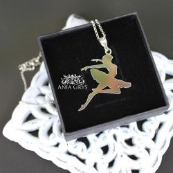 baletnica,ręcznie wycinany,srebrny wisiorek - Wisiory - Biżuteria