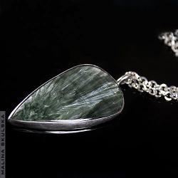 serafinit,srebrnz,nasyzjnik,dugi,prosty - Naszyjniki - Biżuteria