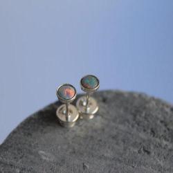 opale,srebro,malutkie,klasyczne,mini,sztyfty - Kolczyki - Biżuteria