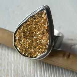 agatowa druza,regulowany rozmiar,srebro kute - Pierścionki - Biżuteria
