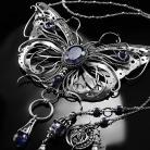 Naszyjniki srebrny,naszyjnik,wire-wrapping,motyl,iolit,ciba