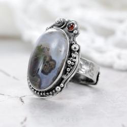 agat mszysty,pierścionek z agatem,bordowy - Pierścionki - Biżuteria