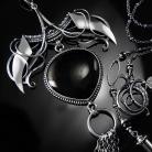 Naszyjniki srebrny,naszyjnik,wire-wrapping,onyks,czarny,ciba