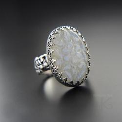 srebrny,pierścionek,z kamieniem księżycowym - Pierścionki - Biżuteria